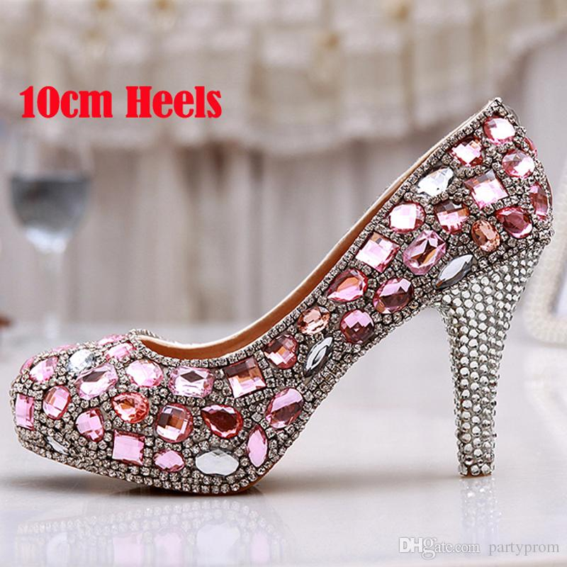 Spring 4 Inches Single Dress Shoes Pink Crystal Wedding Dress Shoes Luxury Gorgeous Ladies Platform Party Prom High Heels