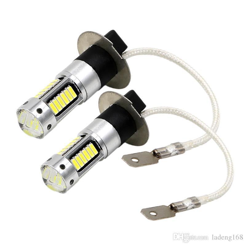 Ampoules de rechange de lumière antibrouillard H3 LED de voiture pour la lampe de conduite DRL feux diurnes blancs 30-SMD 4014 Auto LED haute puissance blanc blanc DC12V