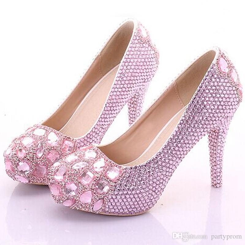 13ddcd9c66c6cc Sexy Luxury Rhinestone Princess Wedding Shoes For Woman High Heel Pink Candy  Color Pumps Woman Shoes Cheap High Heels Evening Shoes From Partyprom