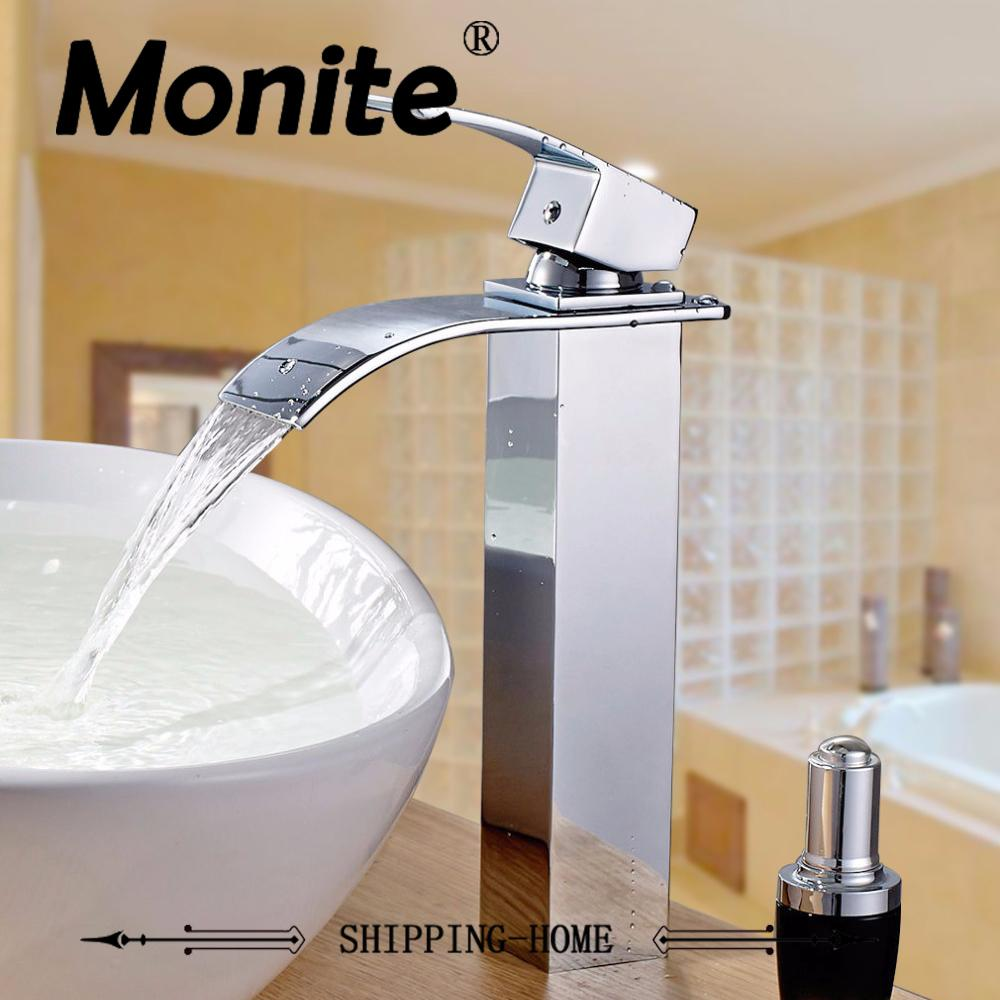 Chrome Brass Waterfall Bathroom Faucet Vanity Face Sink Washbasin ...