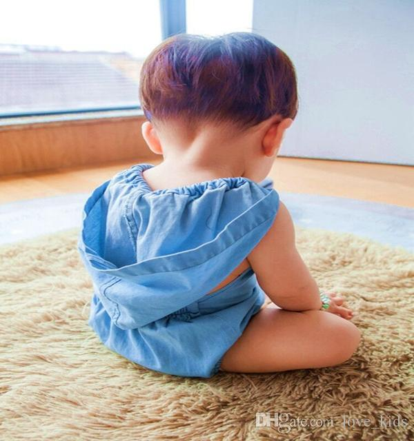 Wash blue baby rompers with cap mock denim newborn babies one-piece clothes toddler fashion jumpersuits kids infant cotton romper