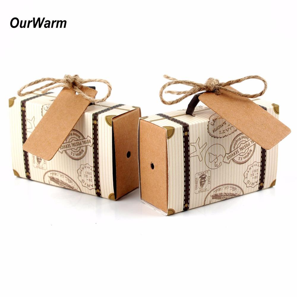 Ourwarm Wedding Favor Chocolate Boxes Vintage Mini Suitcase Candy ...