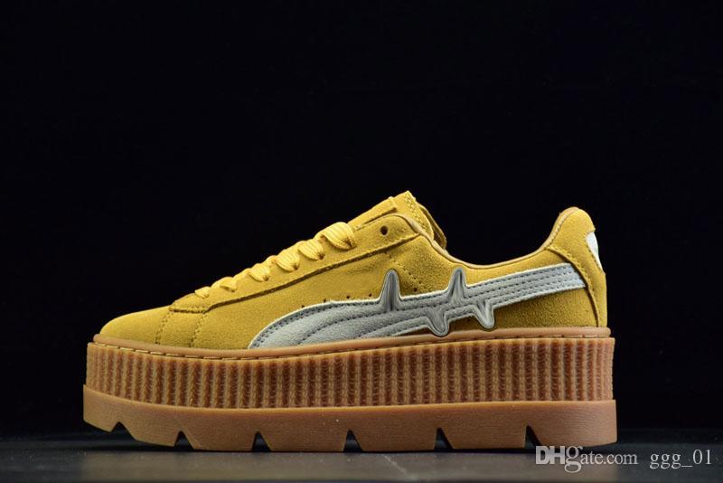 e2de1c582a5 Compre RIHANNA Enredado Creeper Suede MID Moda Al Por Mayor Barato Sneaker  Para Mujeres Running Skate Sport Shoes 36 39 A  91.38 Del Ggg 01