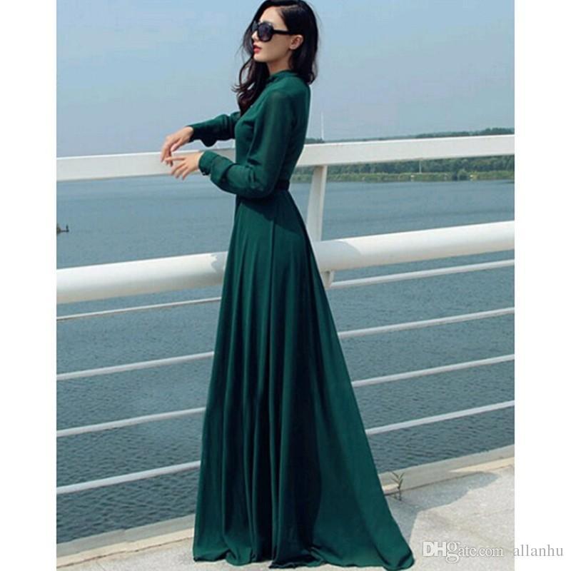 2019 Robe Vert Foncé Longo Femmes Robes Vintage Élégant Casual Dame Long Bouton Partie Maxi Chemise Robe Caftan Abaya Tuniques