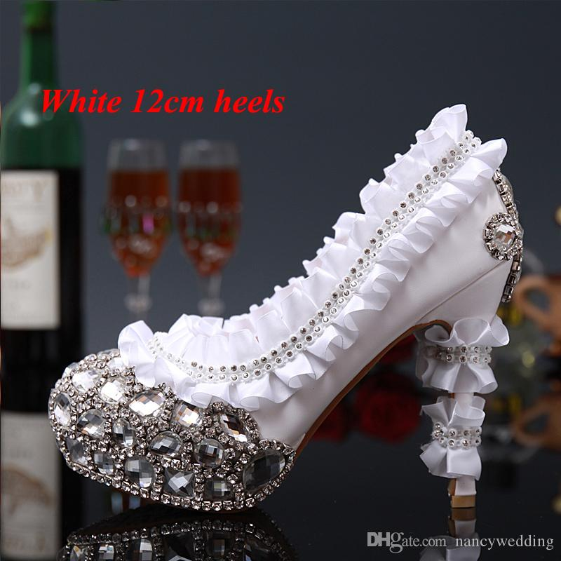cecd14f14cc Luxury Rhinestone Crystal Laies shoes High heells Bridal Wedding Dress  Shoes Red Flower Round Toe Lady Party Dancing Dress Shoes