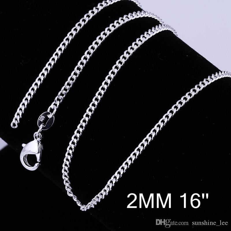 Fashion 925 Sterling Silver Chains Necklace 2mm Flat Curb Chain Necklace 16-24inch