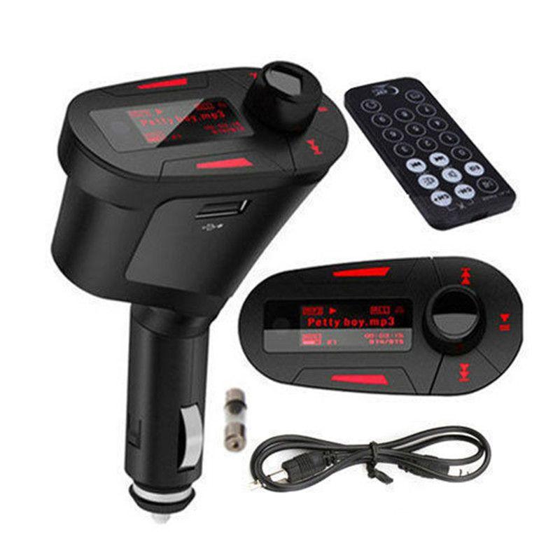 Hot Car Kit Reproductor de MP3 Wireless FM Transmitter Modulator wma inalámbrico USB SD MMC LCD con luz remota