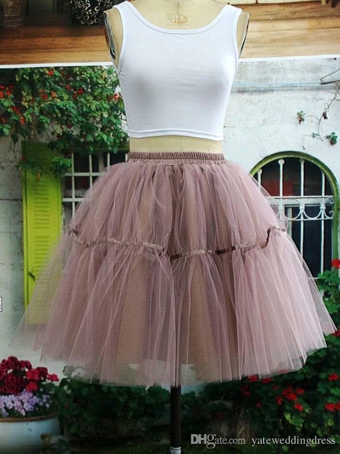 빈티지 Petticoats 다채로운 1950 년대 스타일 짧은 미니 얇은 명주 그물 투투 스커트 드레스 스커트에 대 한 underskirt 탄성 허리 밴드 새틴 밴드 페티코트