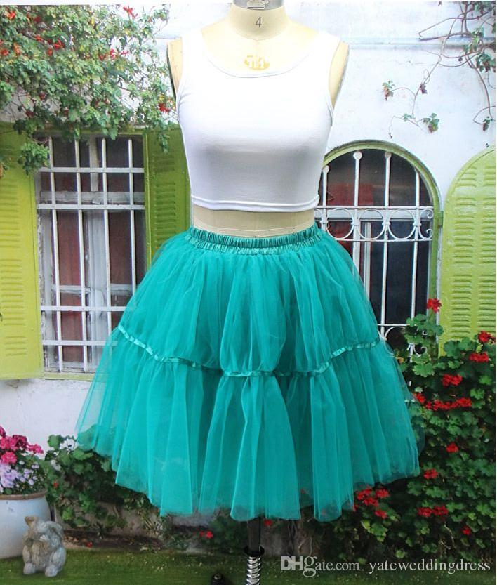 Vintage Petticoats Kolorowe 1950s Styl Krótki Mini Tulle Tutu Spódnice Underskirt Elastyczny pasek Satin Band Petticoats Do Sukienka Spódnicy