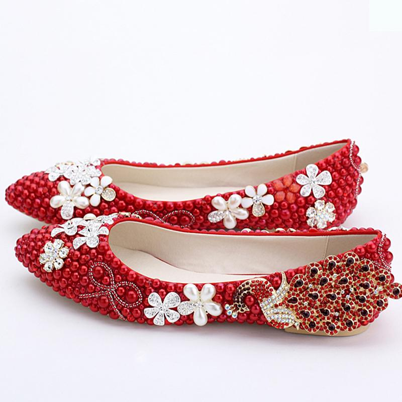 1e70545c10f 2016 Classic Women Wedding Shoes Red Pearl Flats Phoenix Rhinestone Bridesmaid  Shoes Lady Spring Flat Heel Party Shoes Plus Size Red Pearl Wedding Shoes  ...