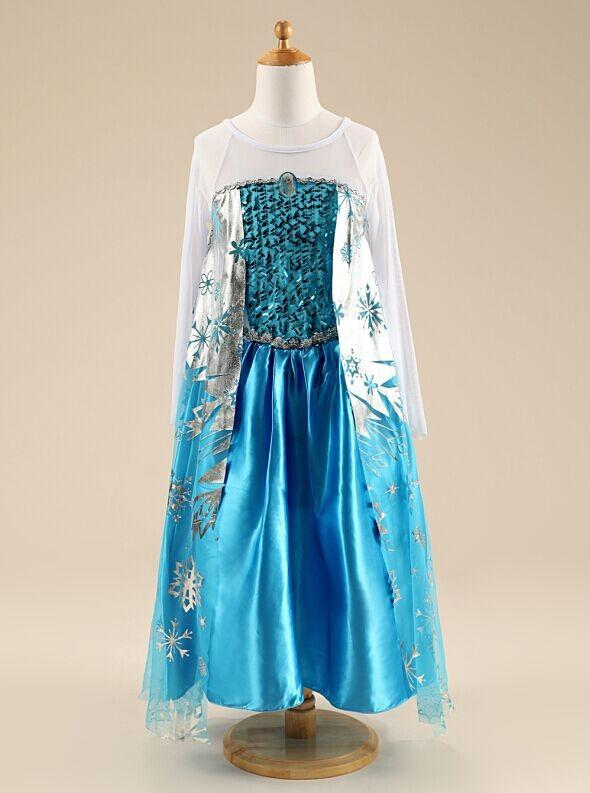 Children Baby Snow Queen Costume Anime Cosplay Dress Princess Dresses With Hooded Cape Blue Fur Cape Dress Ready Stock