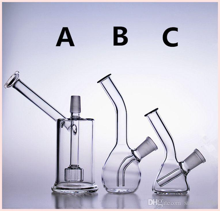 Small glass water bongs mini smoking pipes drop down recycler rigs oil dab beaker bowl downstem bubbler perc 14mm 01