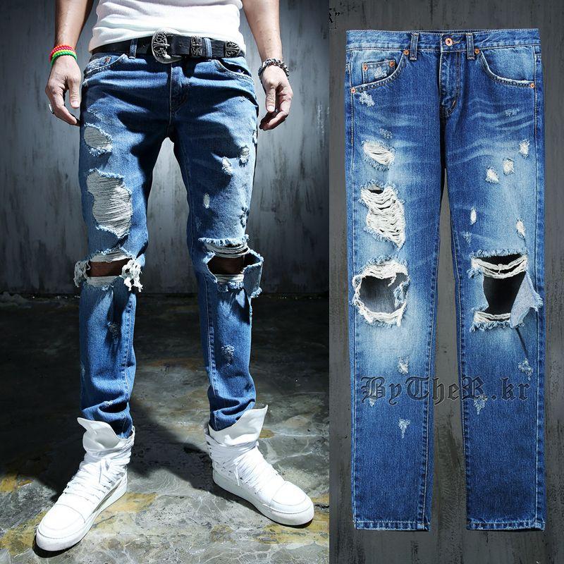 e1ea47fa70fb 2017 Wholesale Big Beggar Knee Holes Jeans Men