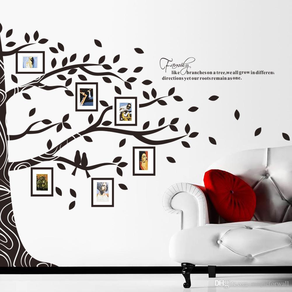 2015 Nova Chegada Extra Grande 257X200 CM Família Quadro Da Foto Quadro de Árvore de Ramos Decalque em Parede Adesivo Sala de estar Quarto Parede Citação Arte Mural