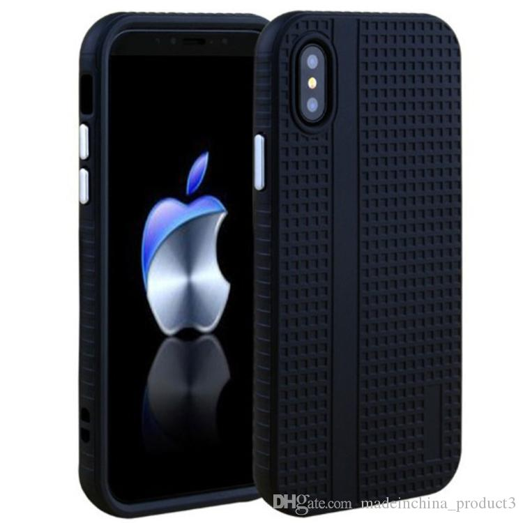 Rugged Armor Case For iphone X 8 plus 7 6s 6 plus Fashion Black Soft TPU Back Cover + PC Bumper Cell Phone Cases