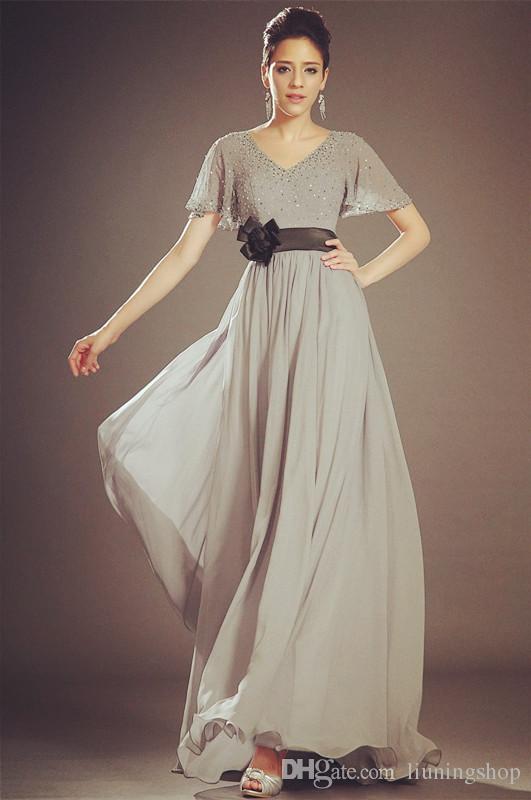 2018 brillante estilo de la envoltura de manga corta vestido de fiesta con cuentas de gasa vestido de noche largo gris moda madre de la novia vestido de escote en pico F5