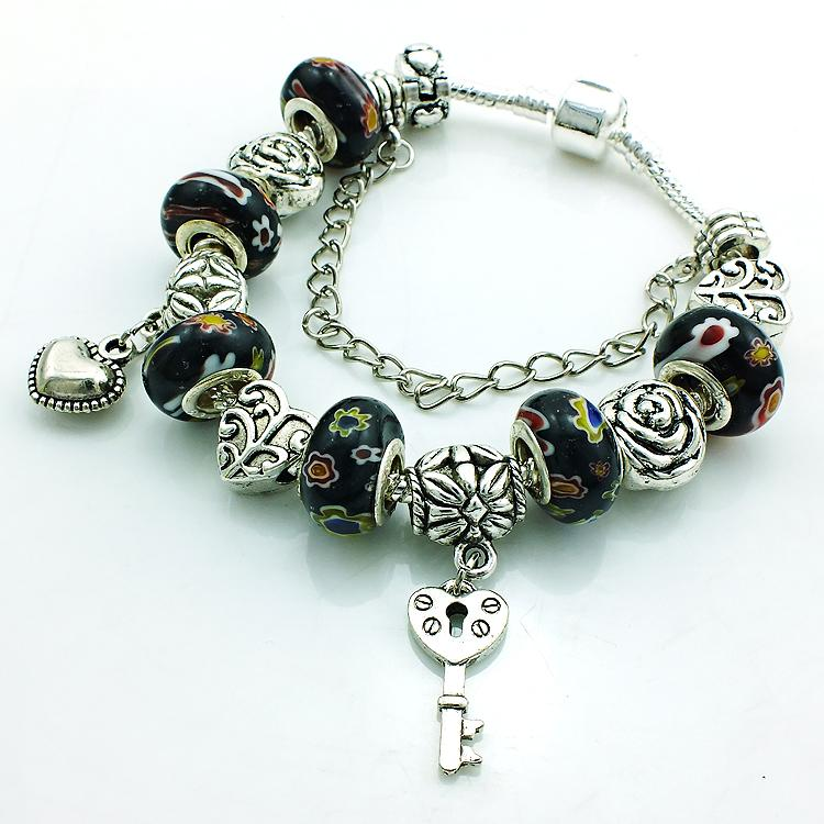 Hot Selling Europe Style Plating Ancient Silver Key Charm Bracelet For Men Crystal Black Murano Ceramic Beads DIY Bracelets Bangles Jewelry