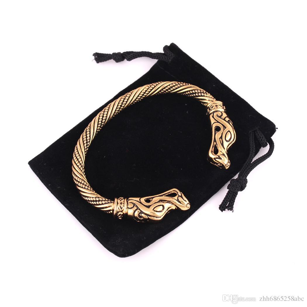 تميمة مجوهرات الفضة أو الذهب jormungandr فايكنغ سوار الأفعى الثعبان وثنية نورس الثعابين الزواحف الإسورة اليدوية وثن مجوهرات larp