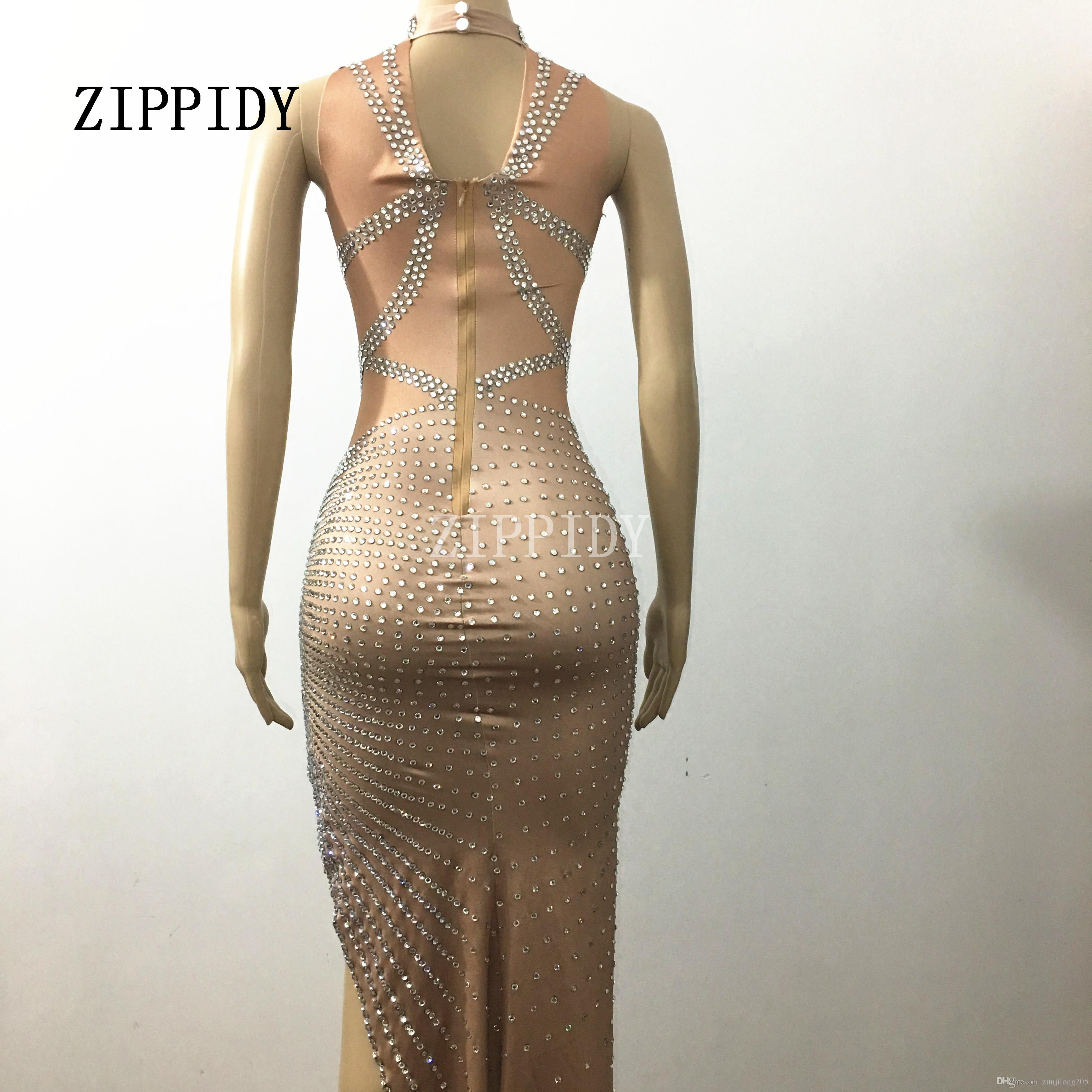Sparkly Crystals Long Dress Women's sexy Evening Party Costume Stage Wear Women Silver Rhinestones Nude Color Celebrate Dresses