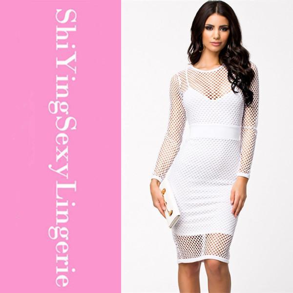 White cut out midi dress.