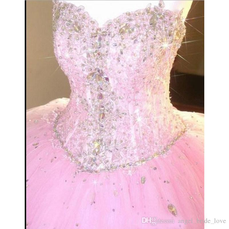 New High Quality Luxury Crystals Sequin Quinceanera Dresses 2016 Ball Gown with Beaded Tulle Floor Length Prom Party Sweet 16 Dress WD208