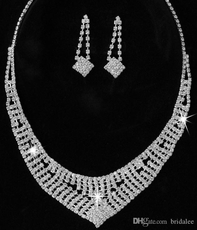 16 Stil Gelin Düğün Kristal Rhinestone Kolye Kolye Küpe Takı Setleri Gelin Takı Aksesuarları