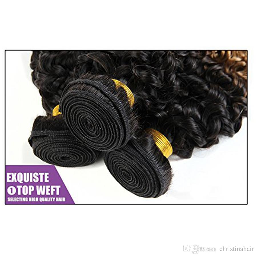 Human Hair Extensions 8A Brazilian Virgin Hair Kinky Curly Weave 3 Bundles 10~30 inch Ombre Weave 1b 27# Kinky Curly Wave Hair Products