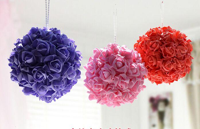 Hot Salebeautiful PurpleRedPink Artificial Rose Ball Flowers