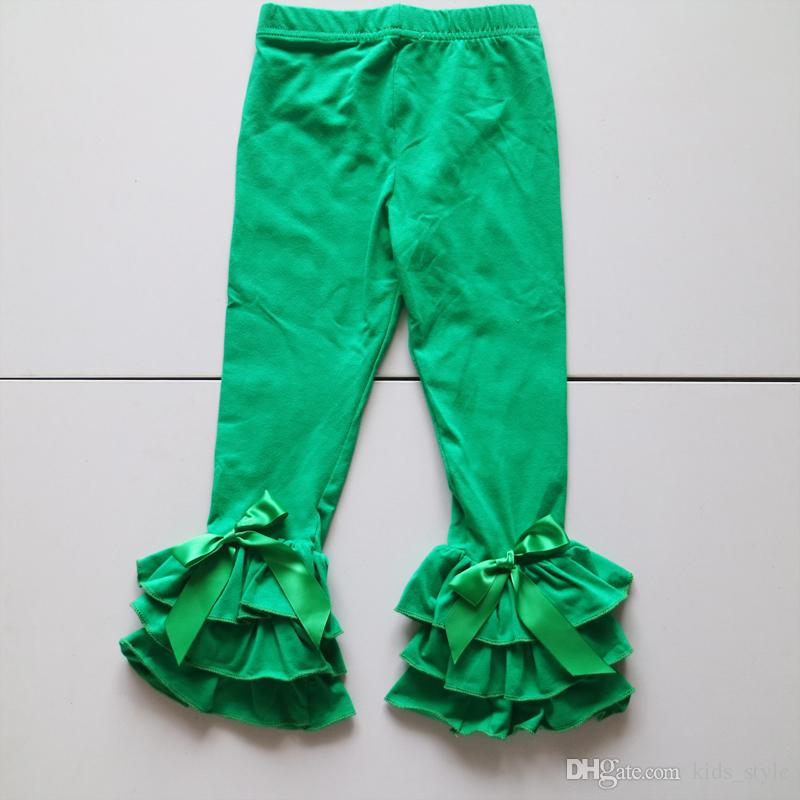 bc849d5c Kids Fashion Clothing Custom Made Pants Green Leggings With Triple Fold  Ruffled Toddler Girls Icing Tights