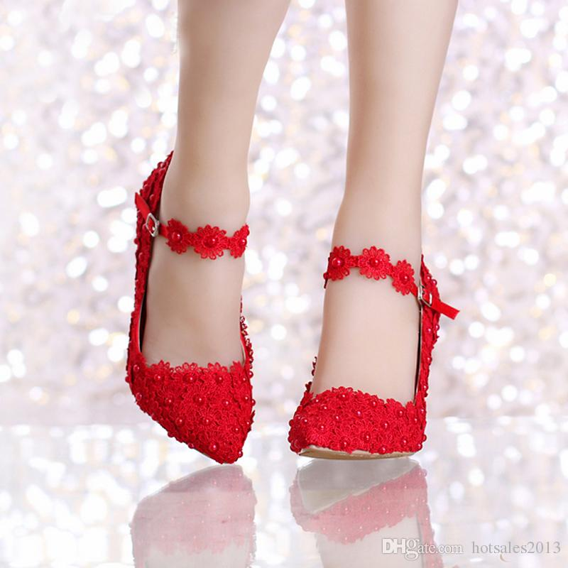 Spring Beautiful White Lace Bridal Shoes with Ankle Straps Pointed Toe Birthday Party Lace Dress Shoes Cheap Bridesmaid Shoes