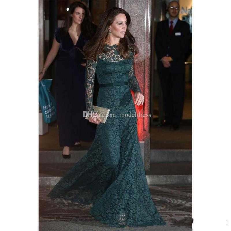 Kate Middleton Formal Lace Evening Dresses 2018 Long Sleeves Sheer Neck Sheath Long Hunter Green Prom Party Red Carpet Gowns Cheap Custom