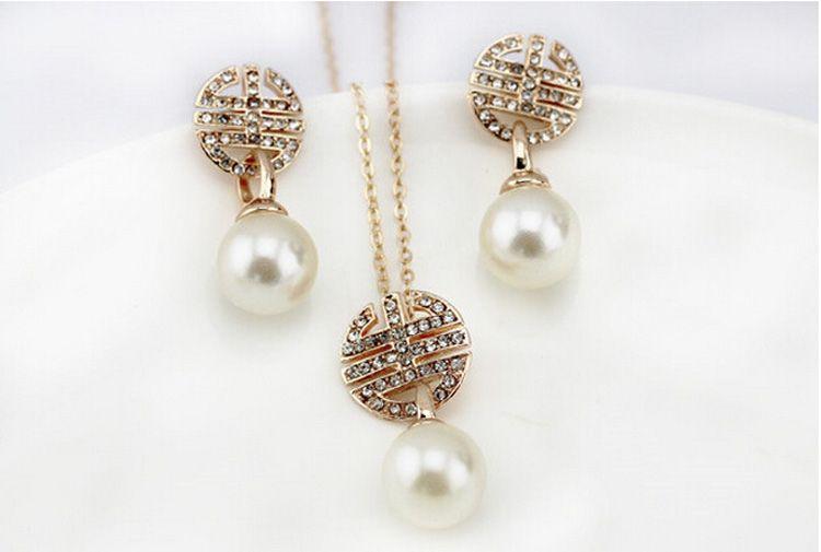 Gli orecchini della collana della perla 18KGP mettono i set di gioielli di cristallo di modo le donne Migliore insieme dei gioielli fini del regalo 1011