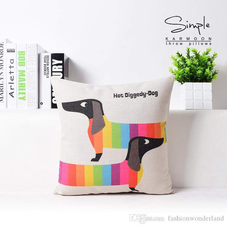 Sausage Dog Hot Diggedy Dog Cushion Cover Candy Color