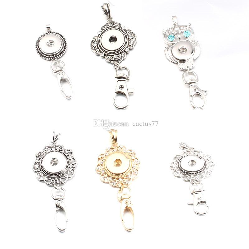 6 Styles Noosa Snap Button Keychain Crystal Flower Owl Charms Key Rings Metal Keychain Bag Pendant Fit 18MM Button Snap Necklace Jewelry