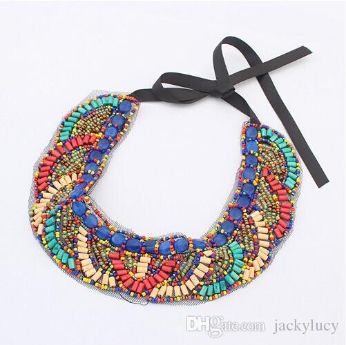Venta al por menor bohemio estilos étnicos collar de piedras preciosas de encaje collar de la vendimia collares joyería para las mujeres se visten el envío libre