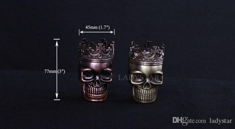 흡연 액세서리 두개골 금속 합금 담배 허브 그라인더 3 층 부품 손 담배 향신료 분쇄기 L23에 대 한