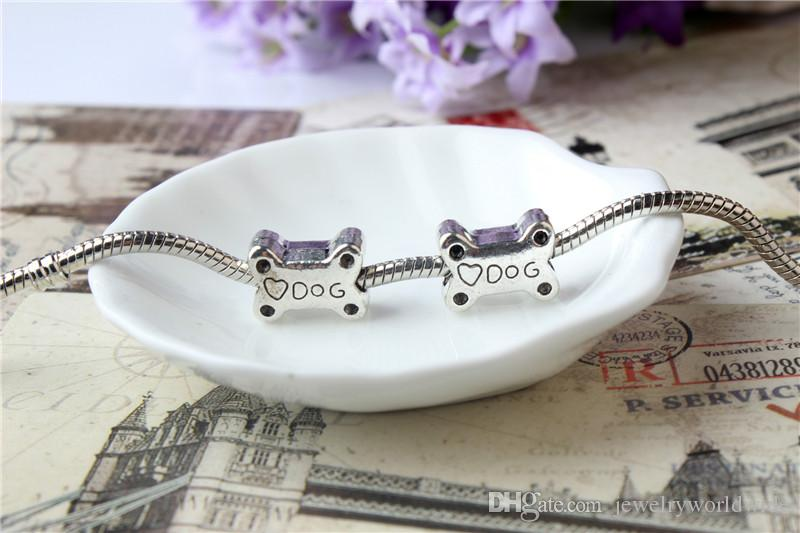 Alloy Charm Bead Big Hole Bone Dog Food Fashion Women Jewelry European Style For DIY Bracelet Necklace