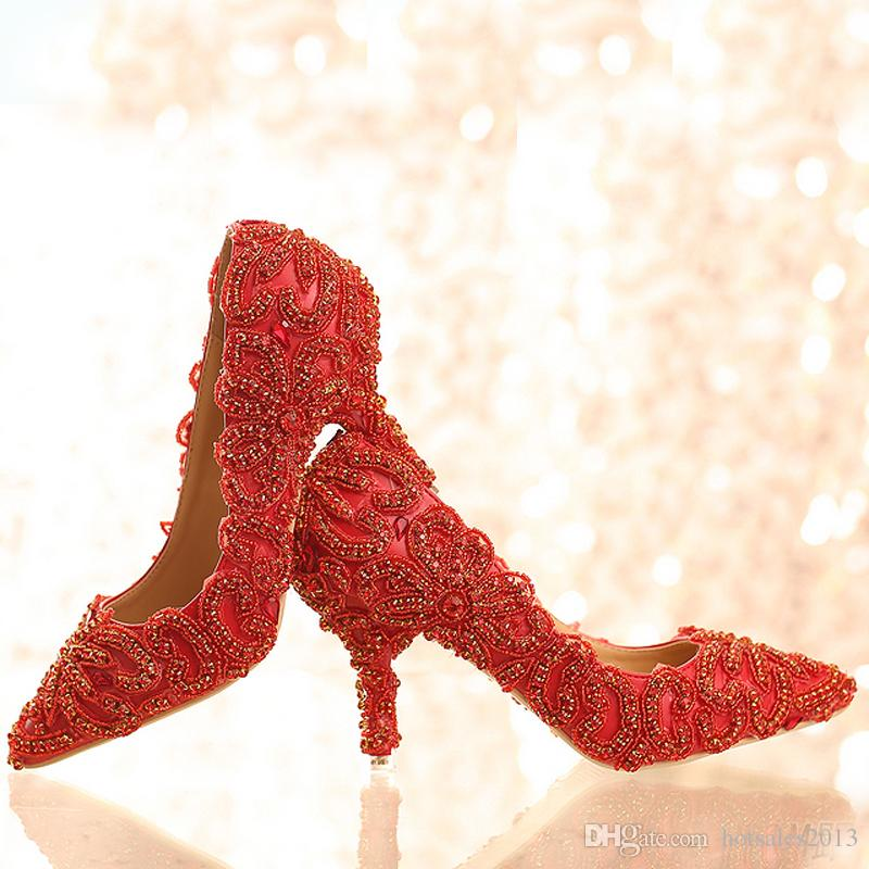 2019 New Design Bright Wedding Shoes Red Color Rhinestone Formal Dress Shoes Lady Party Prom High Heels Pointed Toe Women Shoes