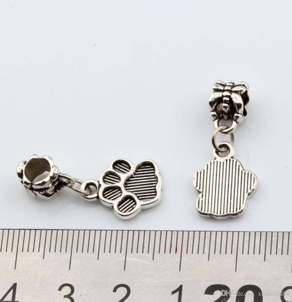 MIC Antique Silver Tone Paw печать шарма качает приспособленные шарики шарма DIY ювелирных изделия 12x27mm