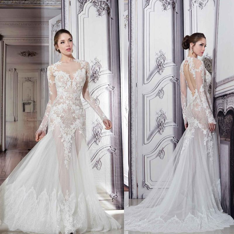 Best Wedding Gowns 2015: Pnina Tornai Sheer Wedding Dresses 2015 Illusion Crew Neck