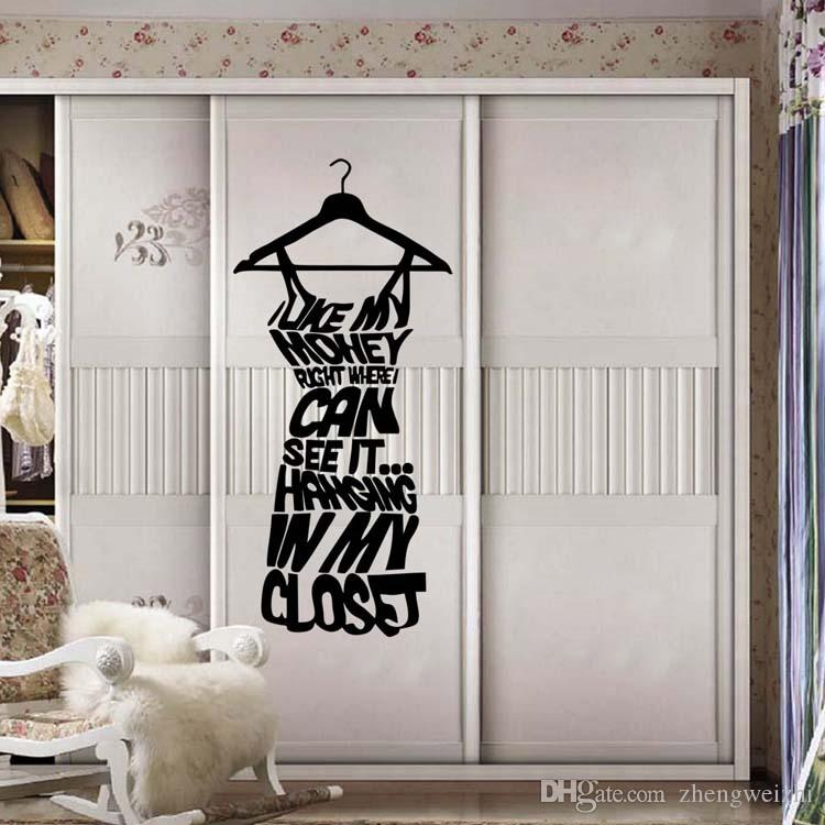 Best Sales Love My Money Dressing Room Wall Stickers Shop Window Stickers  Decorative Glass Door Stickers Decorations Props Removable Shop Wall Decals  Space ...