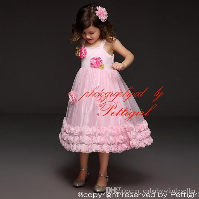 0d08854e3 Pettigirl Summer Fashion Girl Dresses Baby Pink Cotton Top With ...