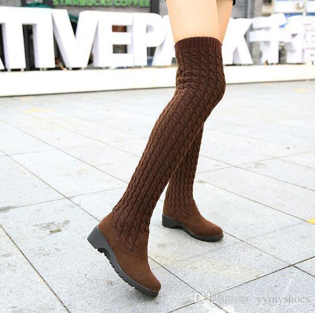 Mode gestrickte Frauen kniehohe Stiefel elastische dünne Herbst Winter warme lange Oberschenkel hohe Stiefel Frau Schuhe Größe
