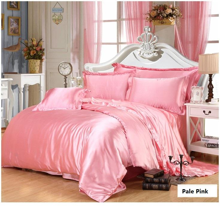 Pink Gold Silk Bedding Set Satin Super King Size Queen Full Twin