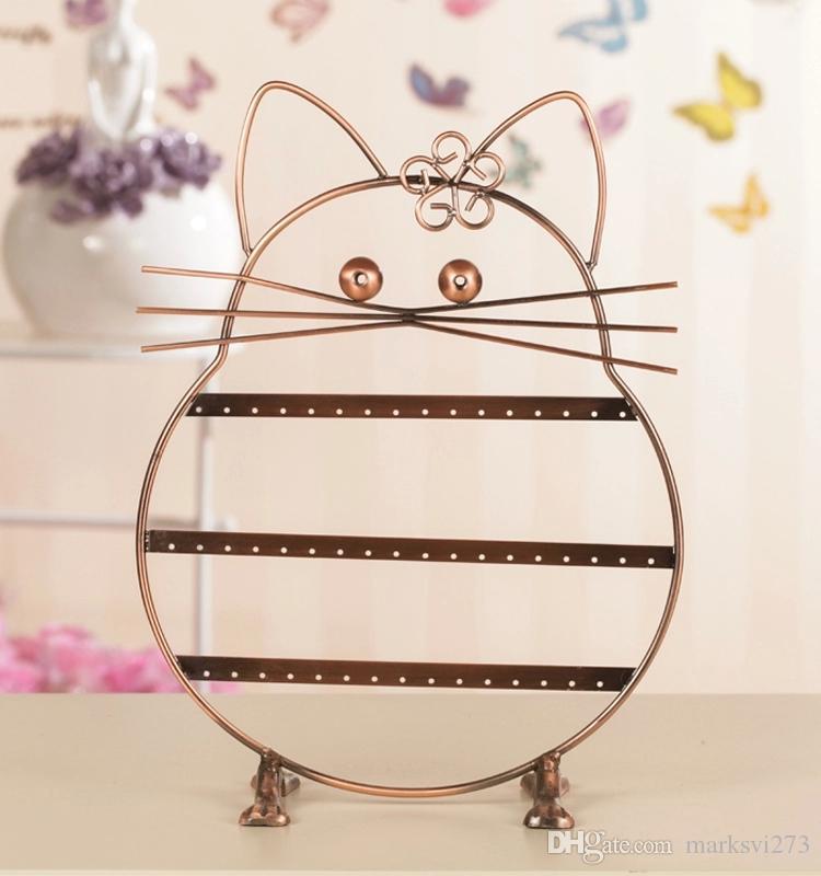 Iron Lucky Cat Orecchino Stud Holder Metal Jewelry Organizer Orecchini Display Stand Rack Puntelli Nero / Bronzo