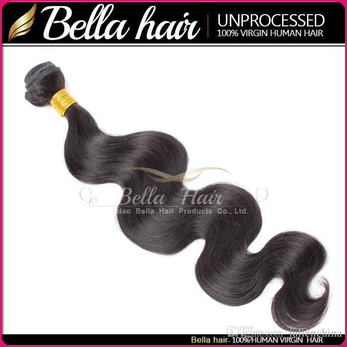 Bellahair® Menselijk Haar Dyesable Bleachable 9A Bundels Peruviaanse Weave Extensions Natural Black Color Double Cheft