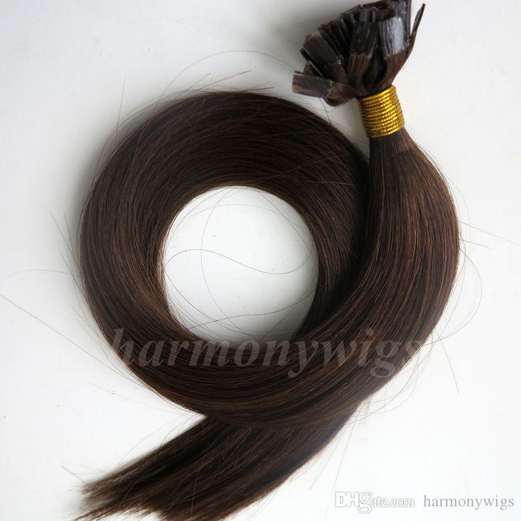 Ön gümrüklü Düz İpucu İnsan saç uzantıları 50g 50 Ipliklerini 18 20 22 24 inç # 4 / Koyu Kahverengi Brezilyalı Hint saç ürünleri