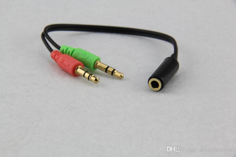 New Hot Sale 3.5mm Female to 2 Male Jack Plug Headphone Mic Audio Y Splitter Cable Stereo Audio Cable