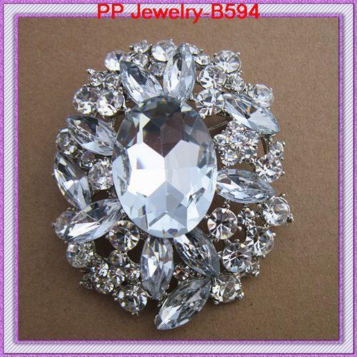 Posrebrzany Ogromny Kryształ Duży Broszka Wyczyść Rhinestone Crystal Wedding Pins Pins B594 Oszałamiający Clear Diamante Big Broszka Pin