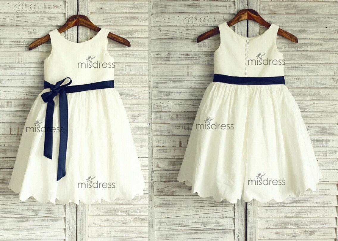Ivory cotton flower girl dressnavy blue sash wedding easter junior ivory cotton flower girl dressnavy blue sash wedding easter junior bridesmaid baptism baby infant children toddler kids dress dresses photos flower girl mightylinksfo